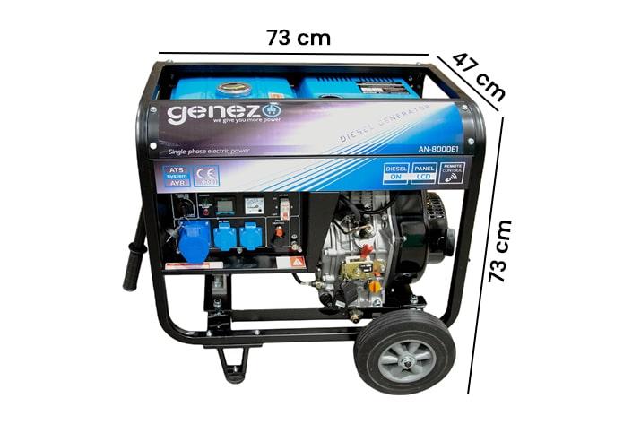 Generator prądu jednofazowy diesel 7,5kW AN-8000 E1 wymiary