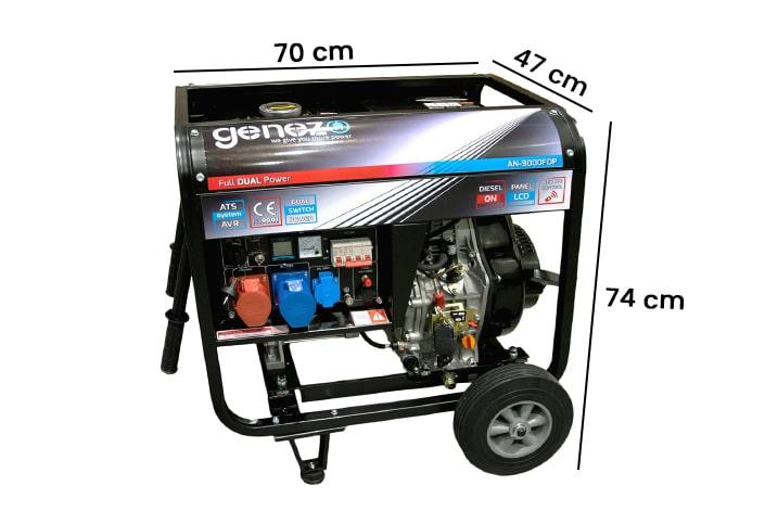 Wymiary generatora prądu 9000FDP