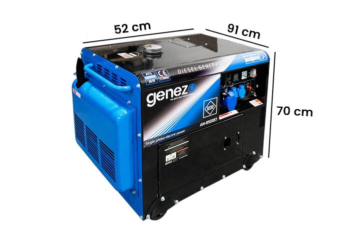Wymiary generatora prądu jednofazowego diesel